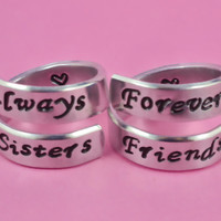 Always Sisters /Forever Friends- Spiral Rings Set, Hand Stamped, Friendship, BFF Gift, Script Font Version