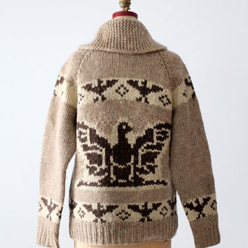 vintage cowichan sweater, thunderbird eagle zip up cardigan