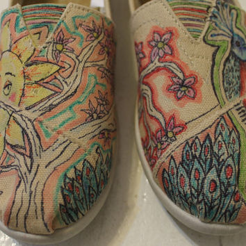 Hand painted shoe – Custom TOMS, Keds, Converse, VANS Peacock and Sun Design Shoe