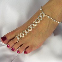 Barefoot Sandals, Bridal, Swarovski Crystal, Pearl, Design #6 | TwoBeWedJewelry - Wedding on ArtFire