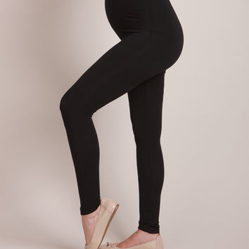 Black Bamboo Active Over-Bump Maternity Leggings