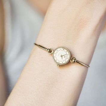 Women's Watch Ring Bracelet for small wrist, Women's Wristwatch Gold Plated, Watch Seagull Tiny Cocktail Watch, Delicate Women's Watch Gift