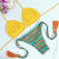 Yellow Crochet Tribal Mix Match Bikini