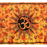 Sunshine Joy Om Sun Tie-Dye Tapestry Beach Sheet Hanging Wall Art - Perfect for Meditation and Yoga (Orange)