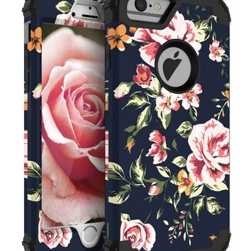 NabeCase Apple iPhone 6 Plus Case,iPhone 6s Plus Case Hybrid Heavy Duty Shockproof 3 in 1 Layer Protective Cute Flowers for Girls/Women,Black