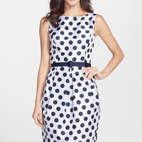 Women's Eliza J Belted Polka Dot Jacquard Tulip Dress,