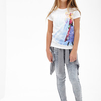 FOREVER 21 GIRLS Snowflake Frozen Graphic Tee (Kids) Cream/Blue