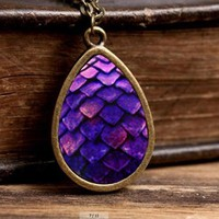 Purple Dragon Egg Necklace Tear Drop Pendant