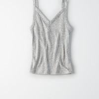 AEO Soft & Sexy Plush Ribbed Tank, Gray