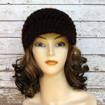 Hand Crocheted Women's Visor Hat, Claret Newsboy Hat, Deep Burgundy Winter Hat
