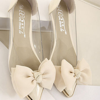 Pointed Toe Sweet Bow Flat Heel