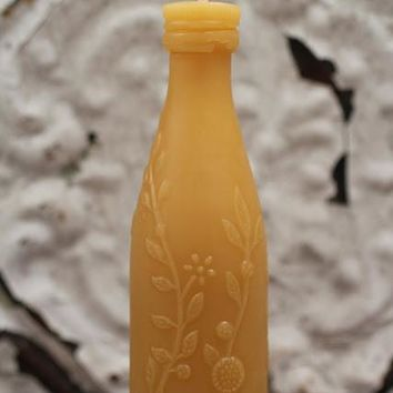 Antique Bottle Beeswax Candle Rose Lime Juice Small