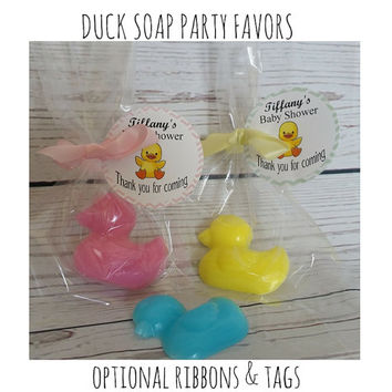 Rubber Duck Baby Shower Soap Party Favors - Kids Easter Basket Filler Baby Shower or First Birthday Scented Soap Gifts | Pack of 10