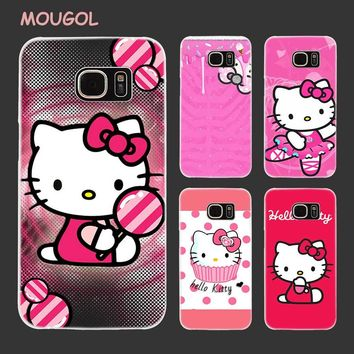 MOUGOL Pink Hello kitty cat design transparent hard case for Samsung Galaxy S8 S7 S6 S5 S4 edge Mini Plus Note 8 5 4 3