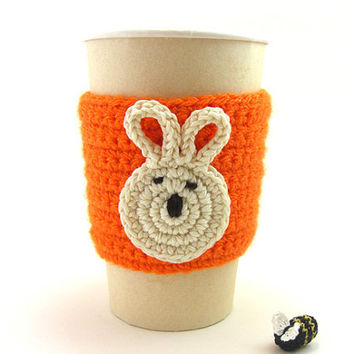 Crochet Cup Cozy Orange Bunny . Tea Drinks Beverage Coffee Hot Cold Easter Sleeve Travel Mug Eco Friendly Cozies Gifts