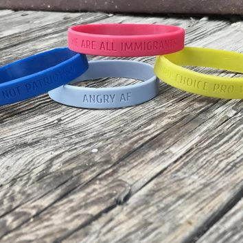 FEMINIST AF / DEMAND EQUALITY Silicone Bracelets (10 choices)