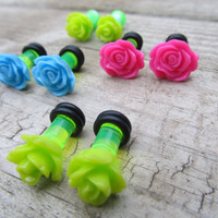 4g (5mm) Plugs Gauges Set FOUR PAIRS Acrylic Gauged Earrings Stretched Piercing Body Jewelry