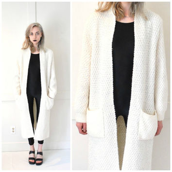 long white KNIT duster cardigan vintage 70s 80s MINIMAL cozy oversized knitted COCOON floor length granny sweater os