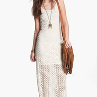 Mimi Chica Half Sheer Crochet Maxi Dress (Juniors) | Nordstrom