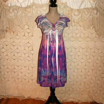 Purple Tie Dye Dress Hippie Boho Dress Short Sleeve Dress Casual Dress Midi Day Dress Psychedelic Hippie Dress Small Medium Womens Clothing