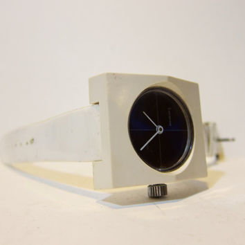 Vintage 1960s Mod White Watch / 60s Lucerne Watch Plastic Band