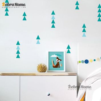 Children Sticker Nordic Ins Geometry Triangles Sticker Pattern Modern Nursery Wall Art Decor DIY Art Home Decoration Baby Room