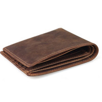 Men's Dark Brown Crazy Horse Leather Handmade Wallet Card Holder