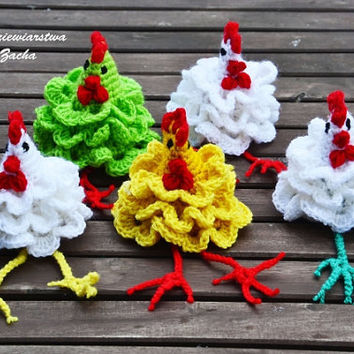 Three Crochet Easter egg decoration with long legs, Tree cozy Chicken egg warmers, egg cover ,crochet egg covers ,egg cozy chickens