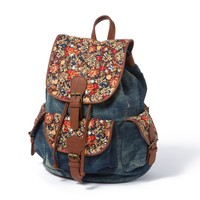 Boulder Denim Backpack with Floral Print and Faux Leather Trim | Icing