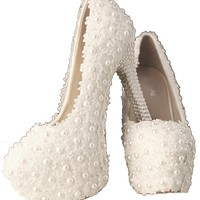 Faironly White Lace Pearls Bride Wedding Shoes