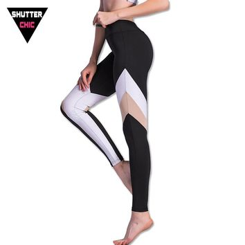 Shutterchic Push Up Running Tights Women Yoga Pant Sports Leggings High Quality Winter Black White Patchwork Leggins Activewear