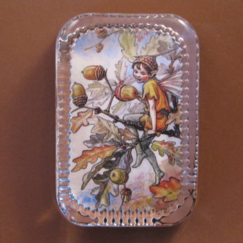 Autumn Acorn Flower Fairy Heirloom Rectangle Glass Paperweight Cicely Mary Barker Home Decor
