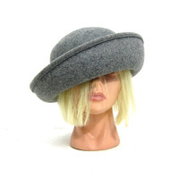 Vintage Gray Hat Fall Street Smart Preppy Wool Felt Hat Size Large Retro Blossom Hat