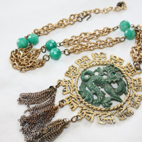 Vintage Green Dragon Pendant Necklace, Statement Runway Asian Boho Necklace Chunky 1960s Jewelry