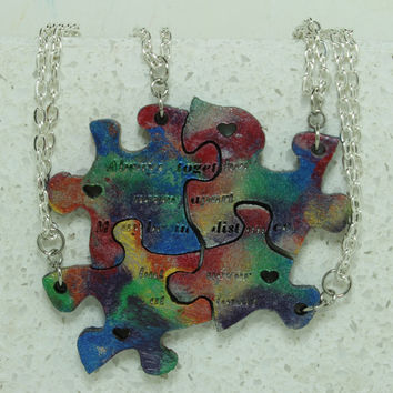 Puzzle Necklace set of 4 Tie Dye painted leather pendants Friendship Jewelry