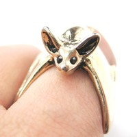 3D Bat Animal Wrap Ring in Shiny Gold Sizes 5 to 10 Available | Animal Jewelry