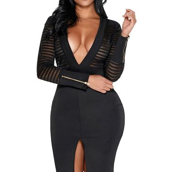Black Sheer Pinstripe Mesh Accent Midi Bodycon Dress