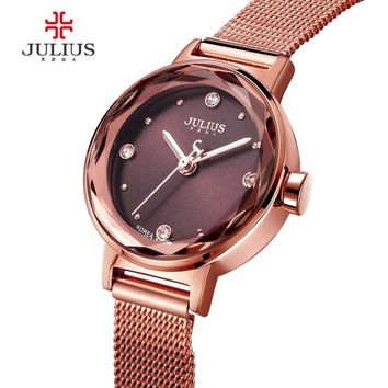 JULIUS Women's Quartz Watch Hardlex Window Gold Steel Mesh Belt Bracelet Hour Clock Luxury Gifts for Lover JA-917