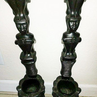 1940's Vintage Hand Carved Tribal Wooden Totem Sconce  From The Philippines Wall Hanging Planters,Pots Tiki