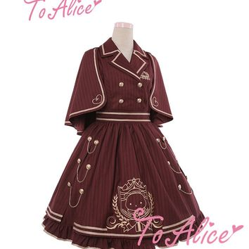 British Royal School Series Women's Preppy Style Sleeveless JSK Lolita Vest Dress Striped Button Chains One Piece Cute