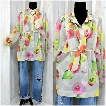 Sheer floral blouse / bright bold floral top / size L / XL / 90s does 70s retro top