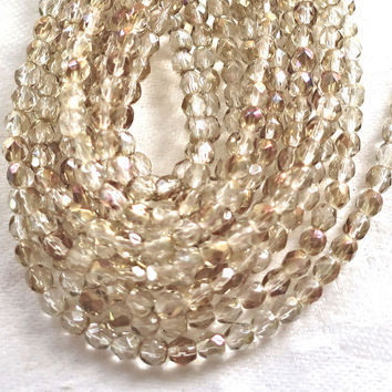 Lot of 50 4mm Czech Twilight Crystal Neutral AB glass beads, speckled firepolished faceted round beads C1650