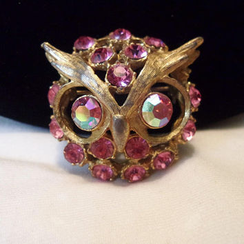Vintage Owl Head Jeweled Pink Glass Rhinestone Gold Plate Brooch Pin