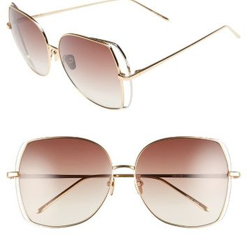 Linda Farrow 61mm Gradient Lens 18 Karat Gold Sunglasses | Nordstrom
