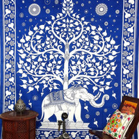 Modern Big Elephant Tree Tapestry, Indian Tree of life Wallhanging, Queen Mandala Tapestries, Blue Tree of life Bedcover Throw, Home Decor