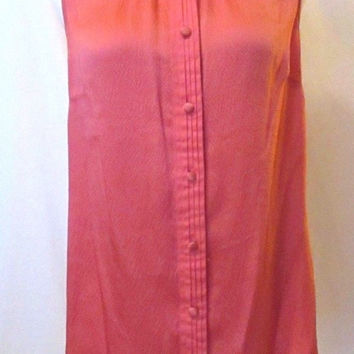 Lilly Pulitzer Colar Silk Sleeveless Blouse Top Size 8 EUC $118 Stand up Collar