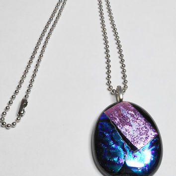 Fused Glass Pendant Necklace Pink Blue Black Dichroic Handmade With 17 Inch Ball Chain Silver Plated Bail