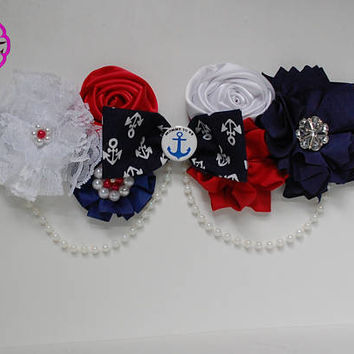 Nautical maternity sash , Nautical baby shower , Red and navy  sash, maternity belt , baby shower boy sash , mommy to be sash , belly belt