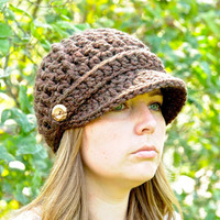 Crochet Newsboy Hat in Wood for Women by SimplyMadeByErin on Etsy