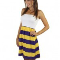 Strapless Striped Short Dress - Gold And Purple
